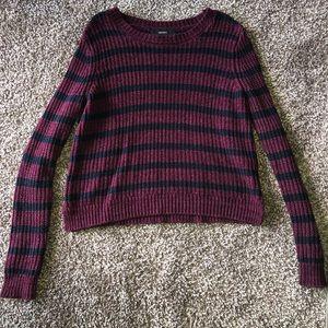 Reddish/Purple and Black Striped Sweater
